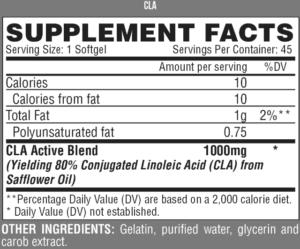 شكل ملصق التغذية لمنتج lipo 6 cla