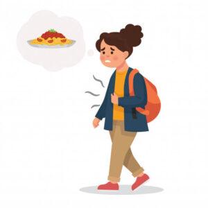 فتاة تفكر في تناول الطعام